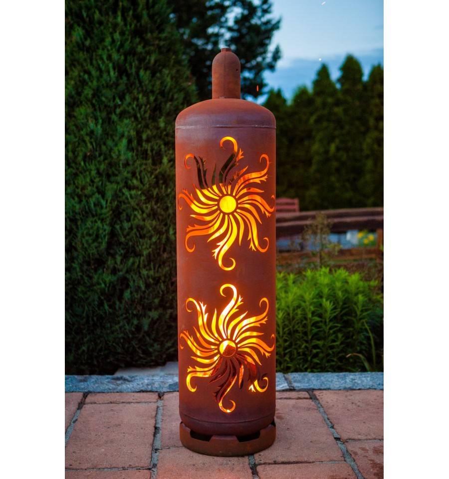 Sehr Stylische Feuertonne  Gasflasche mit  Sonnen Design