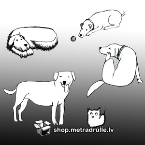 pieci suņi