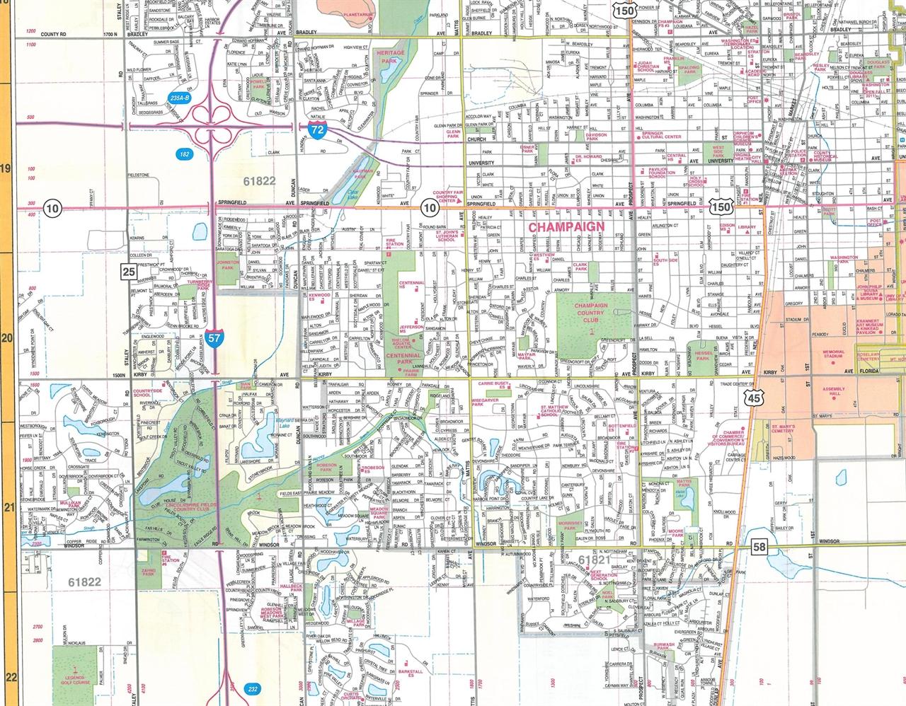 TheMapStore | Champaign Urbana & Danville Illinois Street Map