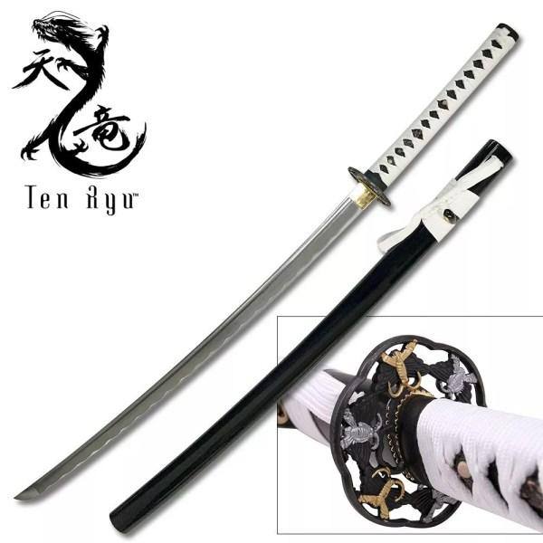 Ten Ryu Handmade Samurai Sword with White handle-0