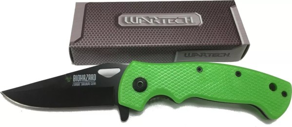 Green Zombie Survival Gear spring assisted knife-0