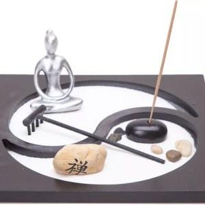 Desktop Zen Garden with Meditating Warrior & Incense-0
