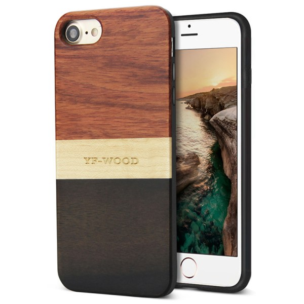 iPhone 7,8,8 plus Natural Wood Phone Case Unique Shockproof Hybrid Cover Real Wood
