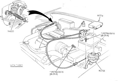 1994 Mercury Capri Throttle Cable COMPLETE ASSEMBLY / 1994