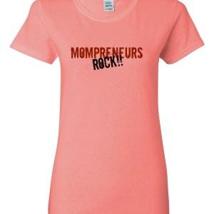 'Mompreneurs Rock' Heavy Cotton Short Sleeve T-Shirt (Red/Blk)