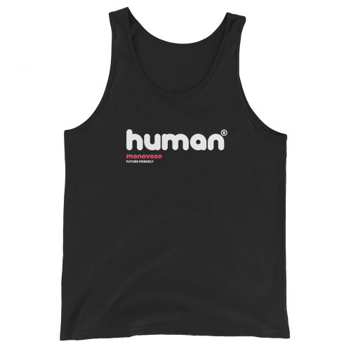 Human tank top for men in black