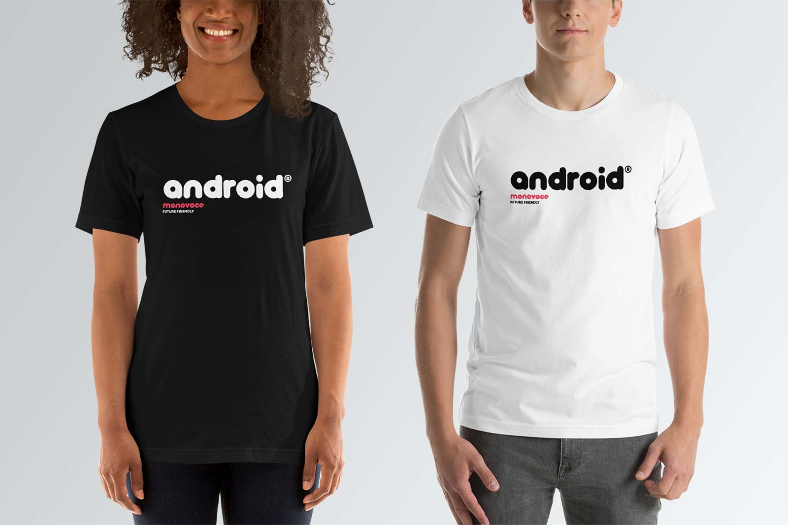 Android t-shirt for men in black and white