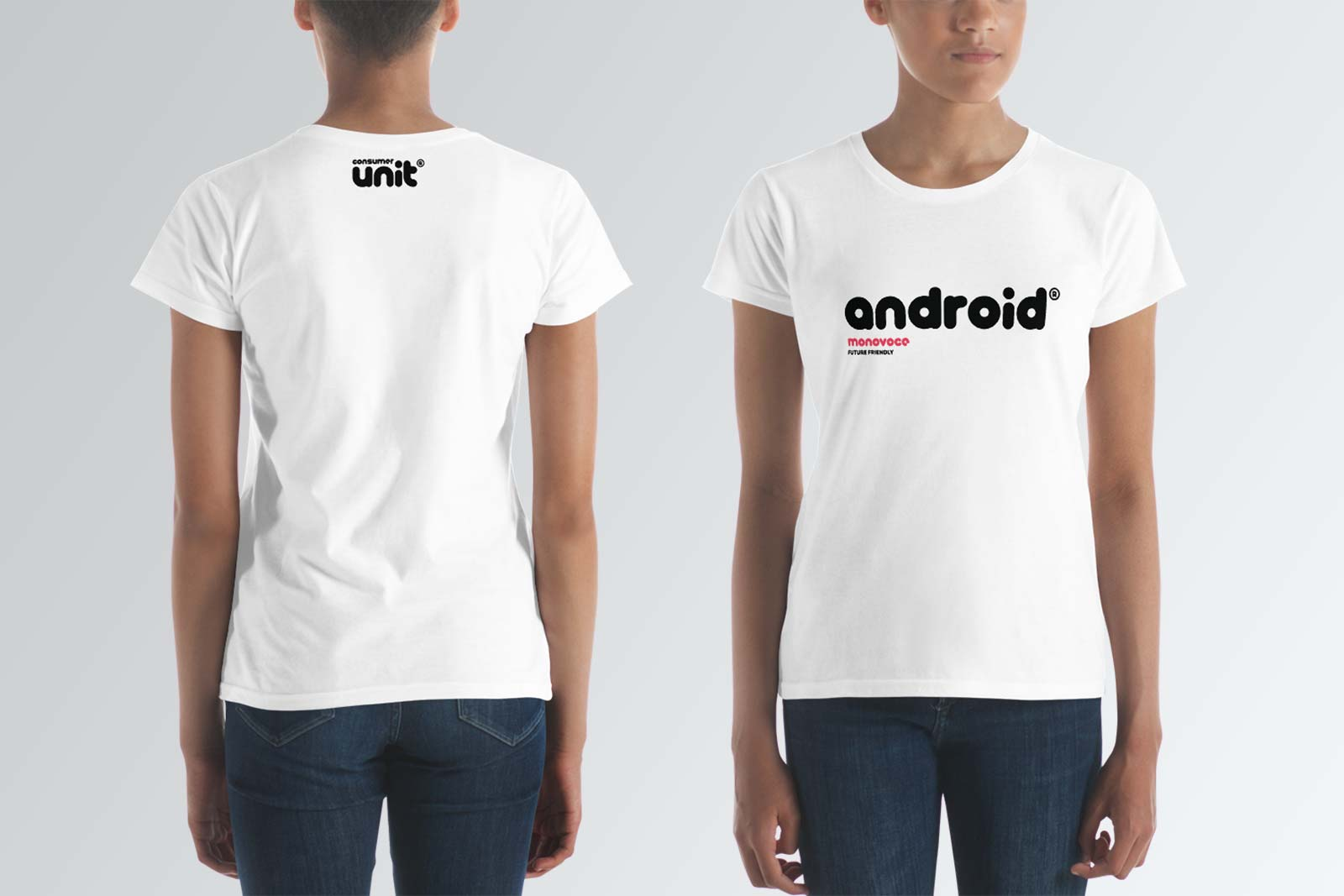 Android t-shirt for women in white