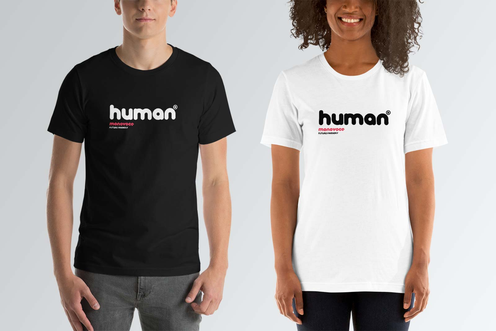 Human t-shirt for men in black and white