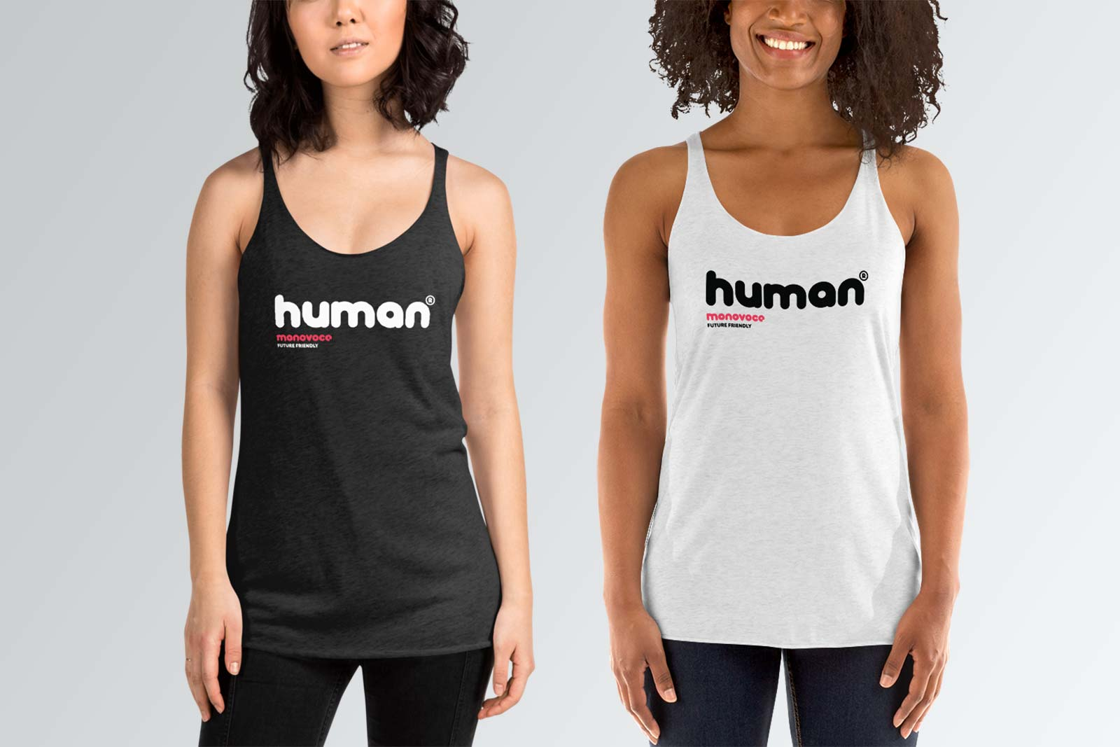 Human tank top for women i black and white