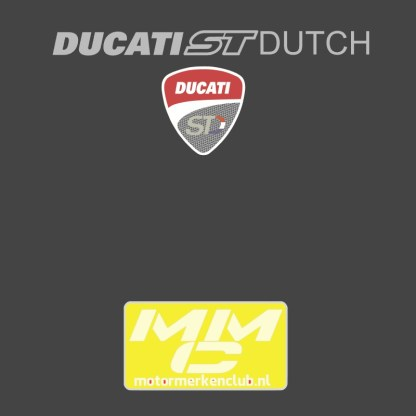 neklogo close-up van het de DucatiSTdutch groep. antracietkleurige ondergrond met zilvergrijze tekst.