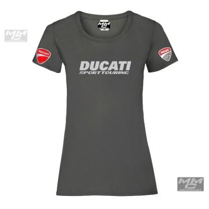 """donkergrijs damesshirt met zilvergrijze opdruk """"Ducati sporttouring"""