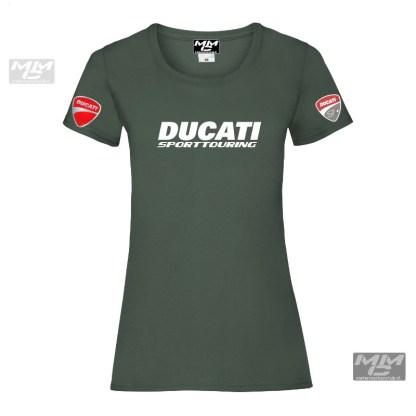 """witte tekst """"Ducati sporttouring""""op een donkergroen Lady-fit T-shirt met witte opdruk"""