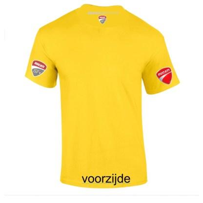geel teeshirt met grijs neklogo DucatiSTdutch