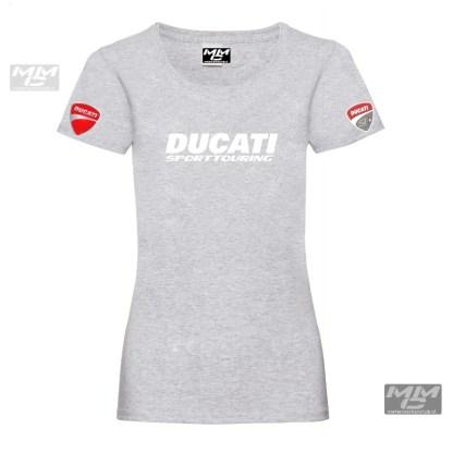 tshirt lady-fit. lichtgrijs met witte opdruk Ducati sporttouring