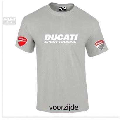 T-shirt, lichtgrijs van kleur met opdruk Ducati Sporttouring in het wit.