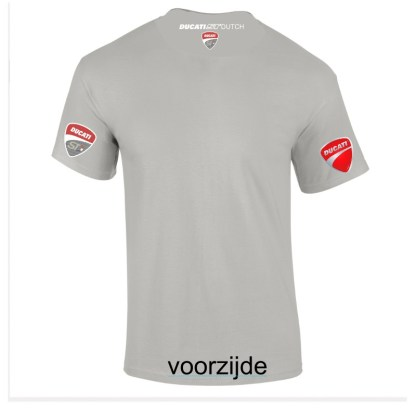 "lichtgrijs teeshirt met neklogo ""Ducati ST Dutch"""