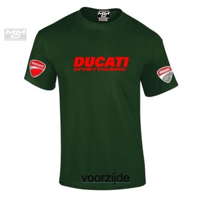 "Ducati opdruk in het rood op een donkergroen teeshirt Tekst""Ducati Sporttouring"""