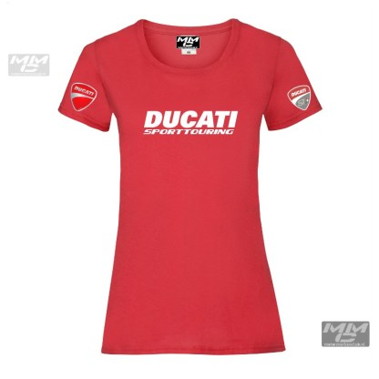Ducatirood lady-fit tshirt met witte opdruk.