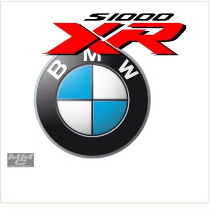 Logo BMW, logo S1000XR in close-up zoals hij op de boxer wordt gedrukt dms sublimatiedruk