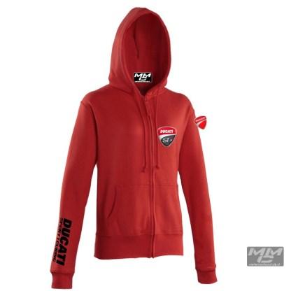 """Zwarte opdruk """"Ducati Sporttouring""""op rode dames Hoodie met rits."""