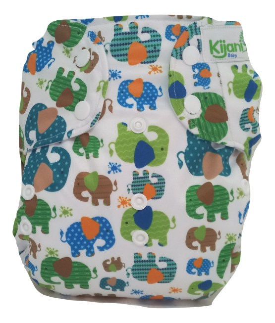 Kijani Deluxe Printed Diaper and Soaker- Elephants