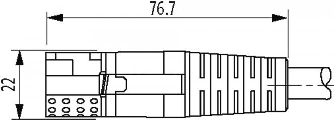 MQ15-X-Power male 0°/MQ15-X-Power fem. 0° shielded at