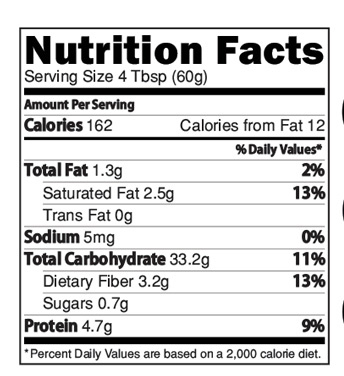 Instant Sprouted Ragi Mix Nutrition Facts