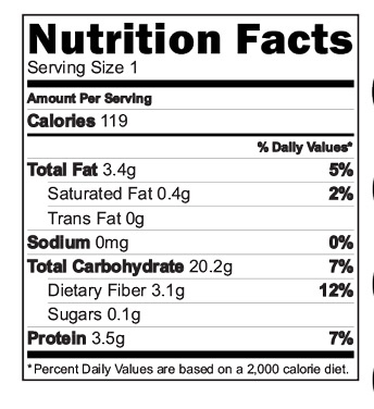 Energy Nutri Mix Nutritional Facts