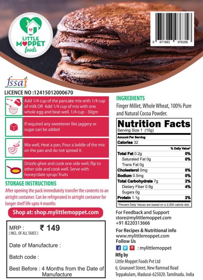Instant Choco Ragi Pancake Mix for Babies