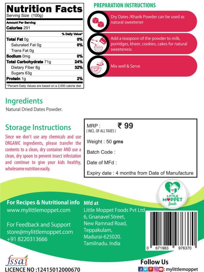 dried dates powder kharik powder for babies and kids