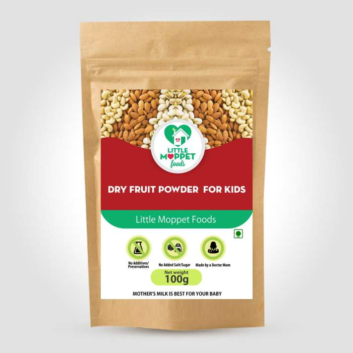 Dry Fruits Powder for babies and kids Can be instantly added with any variety of foods. It helps in brain and body development and also aids weight gain.