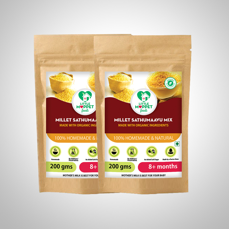 Millet sathumaavu mix is an ultimate baby food with energy-giving carbs, muscle-forming proteins, digestive fiber, brain building vitamins and minerals.