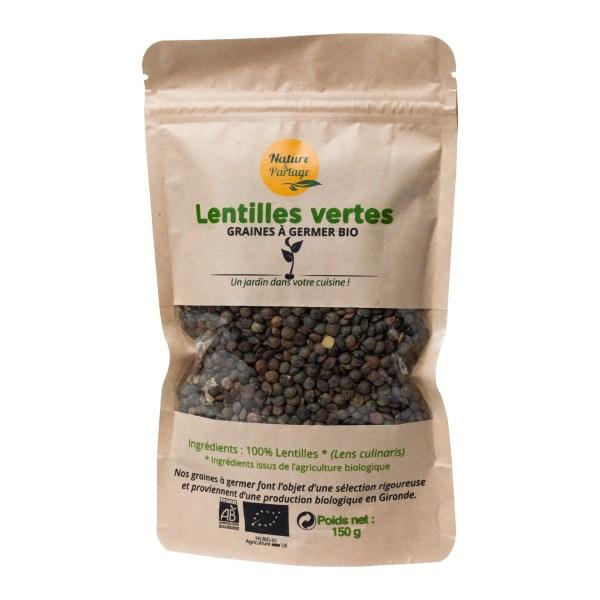 Graines à germer bio de Lentilles vertes
