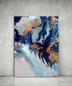 Lustrous Blue And Copper Abstract Frameless Art Poster