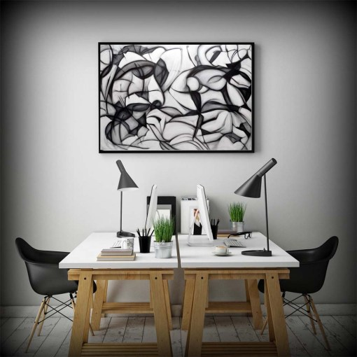 Thrilling Black And White Abstract Artwork Frameless Poster