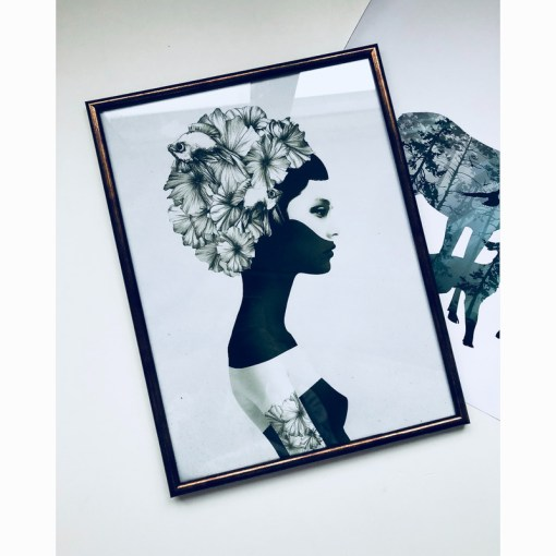 Elegant Girl Portrait Black And White Frameless Wall Art