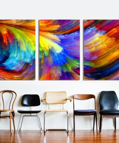 Multi-coloured Hairline Abstract Painting Frameless Artwork Poster