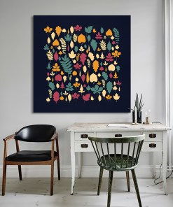 Colourful Plant Leaf Square Art Painting Frameless Poster