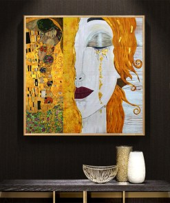 Haunting Woman With Golden Tears Frameless Art Poster
