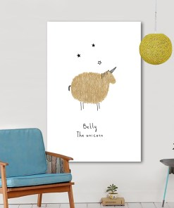 Amusing Betty The Unicorn Frameless Art Poster