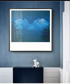 Heavenly Blue Mountain and Landscape Frameless Wall Poster