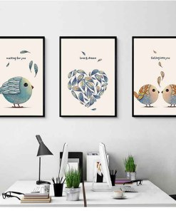 Engrossing Birds With Love Quotes Frameless Art Posters