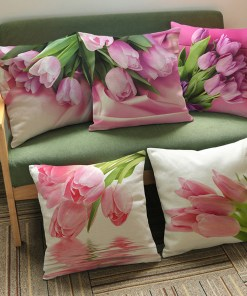 Savvy 3D Tulip Flower Print Pillow Covers
