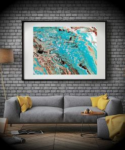Brisk Blue Abstract Aerial Coastal Landscape Frameless Poster