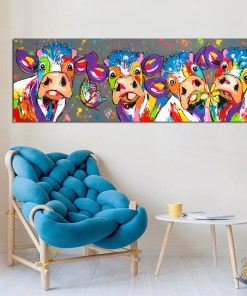 Festive Cows Colourful Animals Frameless Art Poster