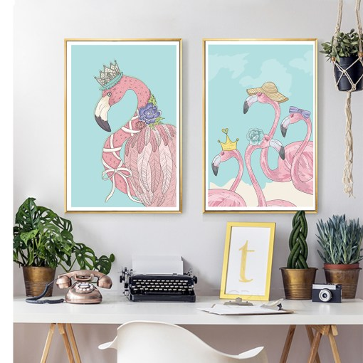 Buoyant Pink Funny Flamingoes And Teal Sky Frameless Art Poster