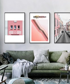 Auspicious Urban Landscape Hot Pink Car Building Frameless Poster.