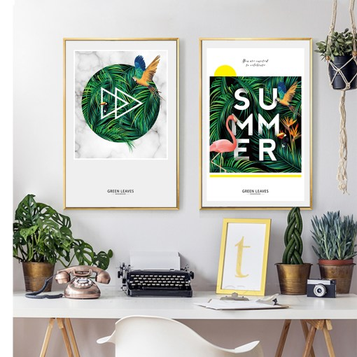 Jovial Summer Colourful Flamingo Topical Plants Frameless Poster