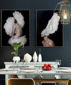 Provocative Nude Women With Feather Headdresses Frameless Poster